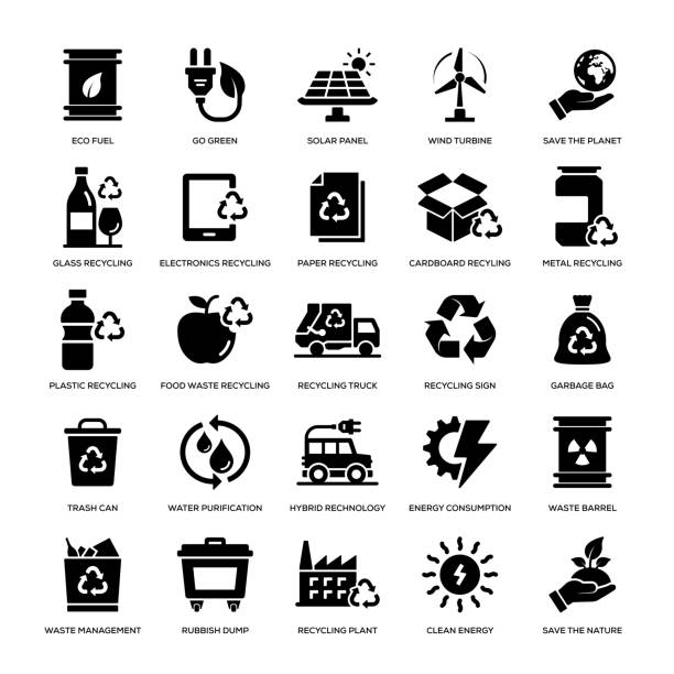 stockillustraties, clipart, cartoons en iconen met recyclage icon set - glas materiaal
