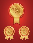 Red 100 percent badges