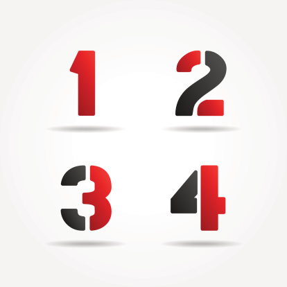 red 1234 3d stencil numbers