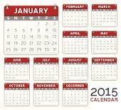 Red 2015 Calendar