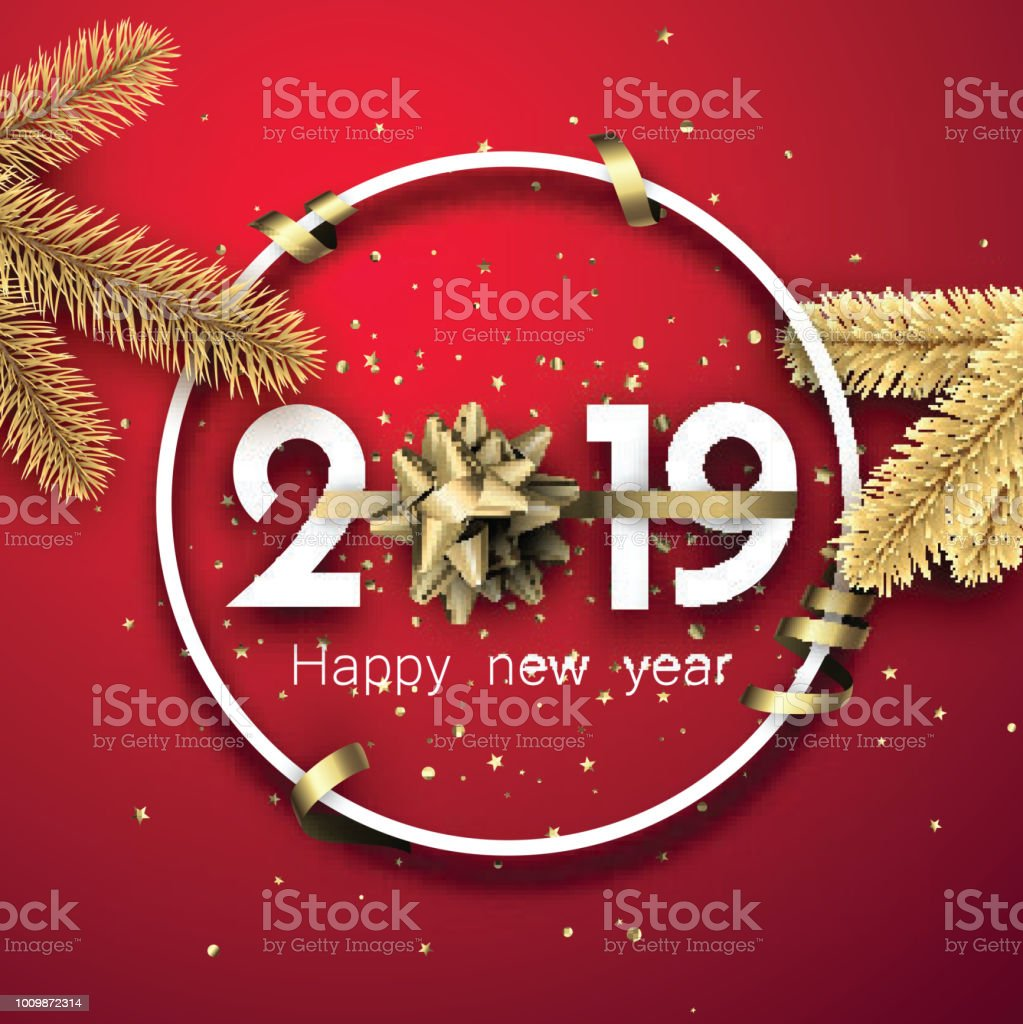 Red 2019 happy new year card with golden bow and stars stock vector art more images of 2019 - New years colors 2019 ...