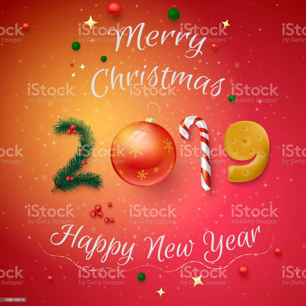 Red 2019 Merry Christmas And Happy New Year Card Stock Vector Art