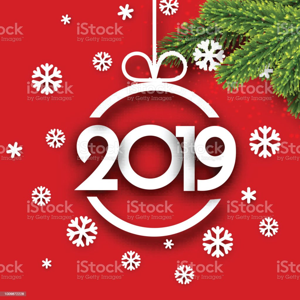 red 2019 new year background with fir branches and snowflakes royalty free red 2019