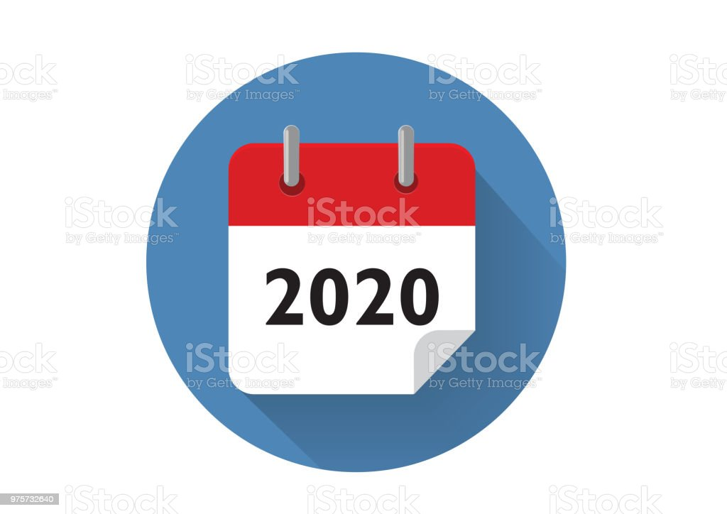 Rot 2020 Kalendersymbol im Vektor-Format - Lizenzfrei 2020 Vektorgrafik