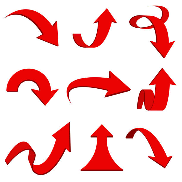 紅色3d 箭頭。彎曲和捲曲的圖示向量藝術插圖