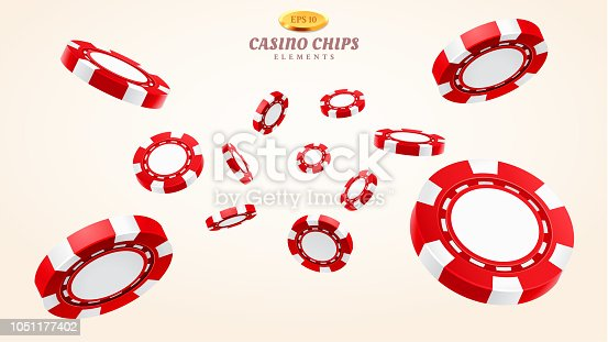 Red 3d casino chips or flying realistic tokens for gambling, entertainment house volumetric blank or empty cash for roulette or poker, blackjack. Gamble and winner, risk and luck, betting and fortune