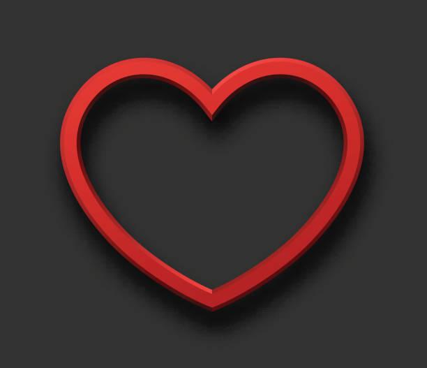 Rot 3d Herz grau anmelden. – Vektorgrafik
