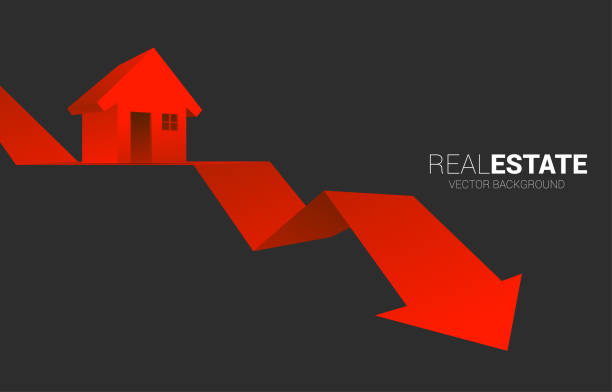Red 3D home icon on falling down arrow. Concept of decline in real estate business and properties price low stock illustrations
