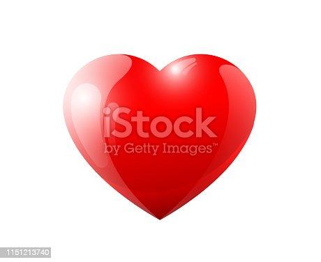 istock Red 3d volumetric heart. Shiny glossy love valentine romantic sy 1151213740