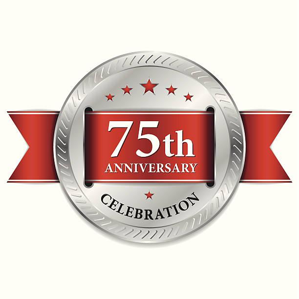 Red 75th anniversary seal vector art illustration