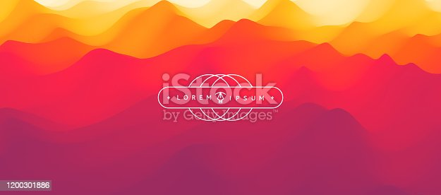 Red abstract background. Realistic landscape with waves. Cover design template. 3d vector illustration.
