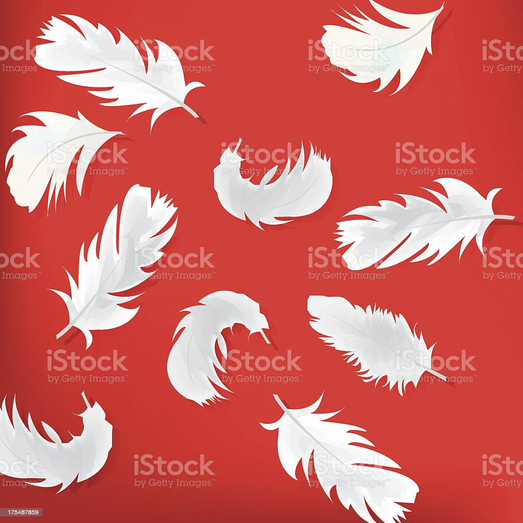 Red abstract background with feathers royalty-free stock vector art