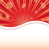 Red abstract card template with sun baubles and blank place for text, vector illustration