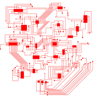 red abstract circuit board background