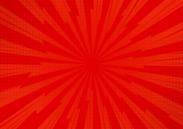 red abstract comic cartoon sunlight background. vector illustration design. - журнал комиксов stock illustrations