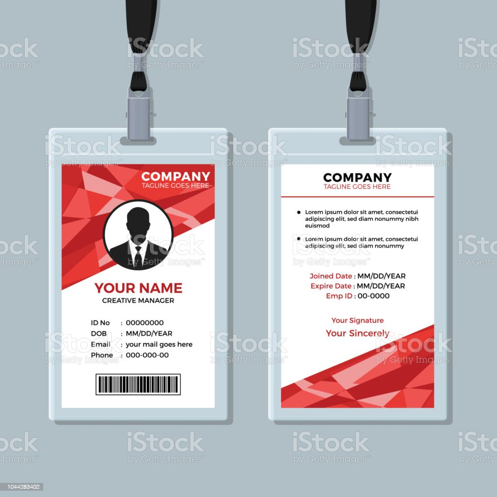 Red Abstract Geometric Id Card Template Stock Illustration Pertaining To Template For Id Card Free Download