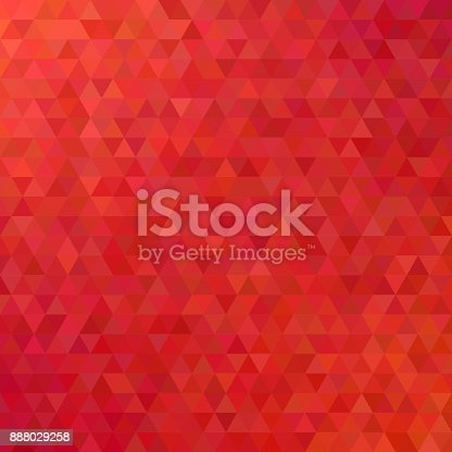 istock Red abstract mosaic triangle tile pattern background - modern polygon vector design from regular triangles 888029258