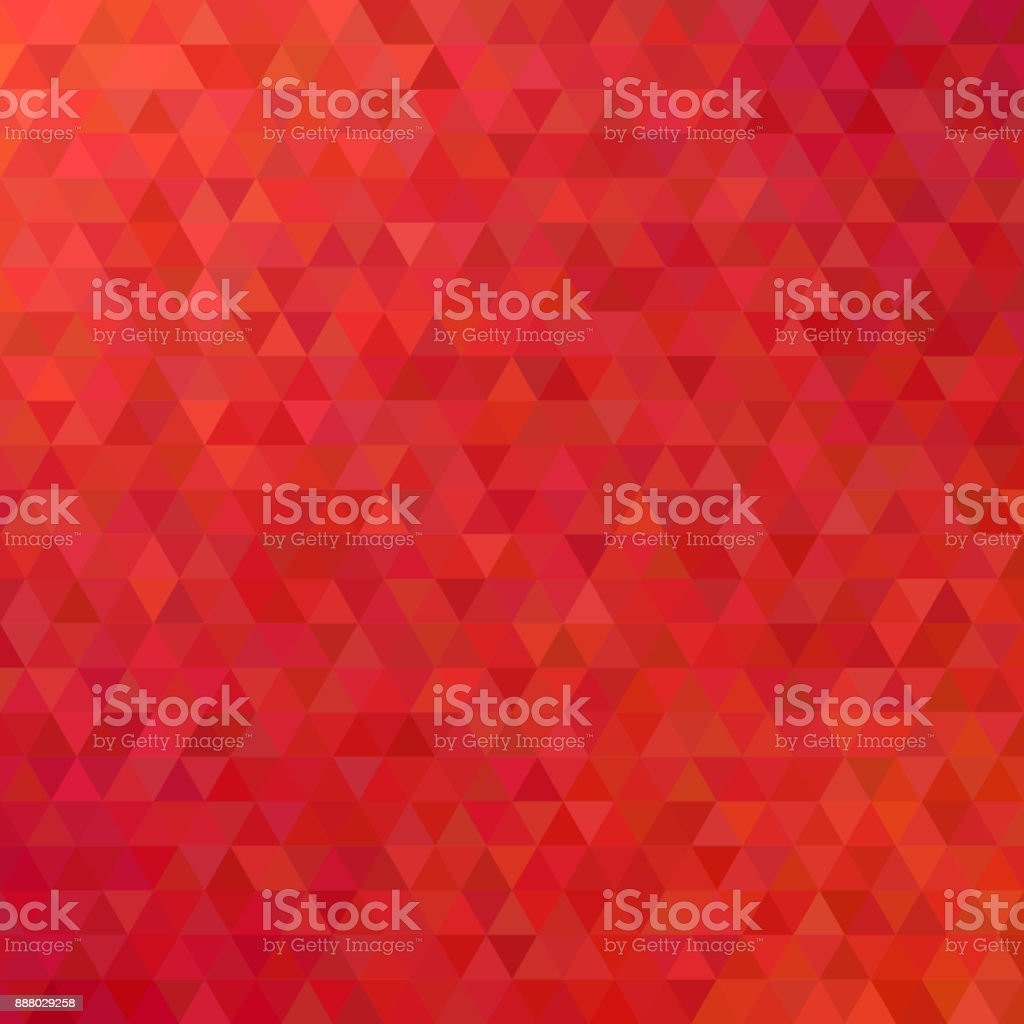 Red abstract mosaic triangle tile pattern background - modern polygon vector design from regular triangles vector art illustration
