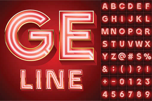 Red abstract neon tube alphabet for light board