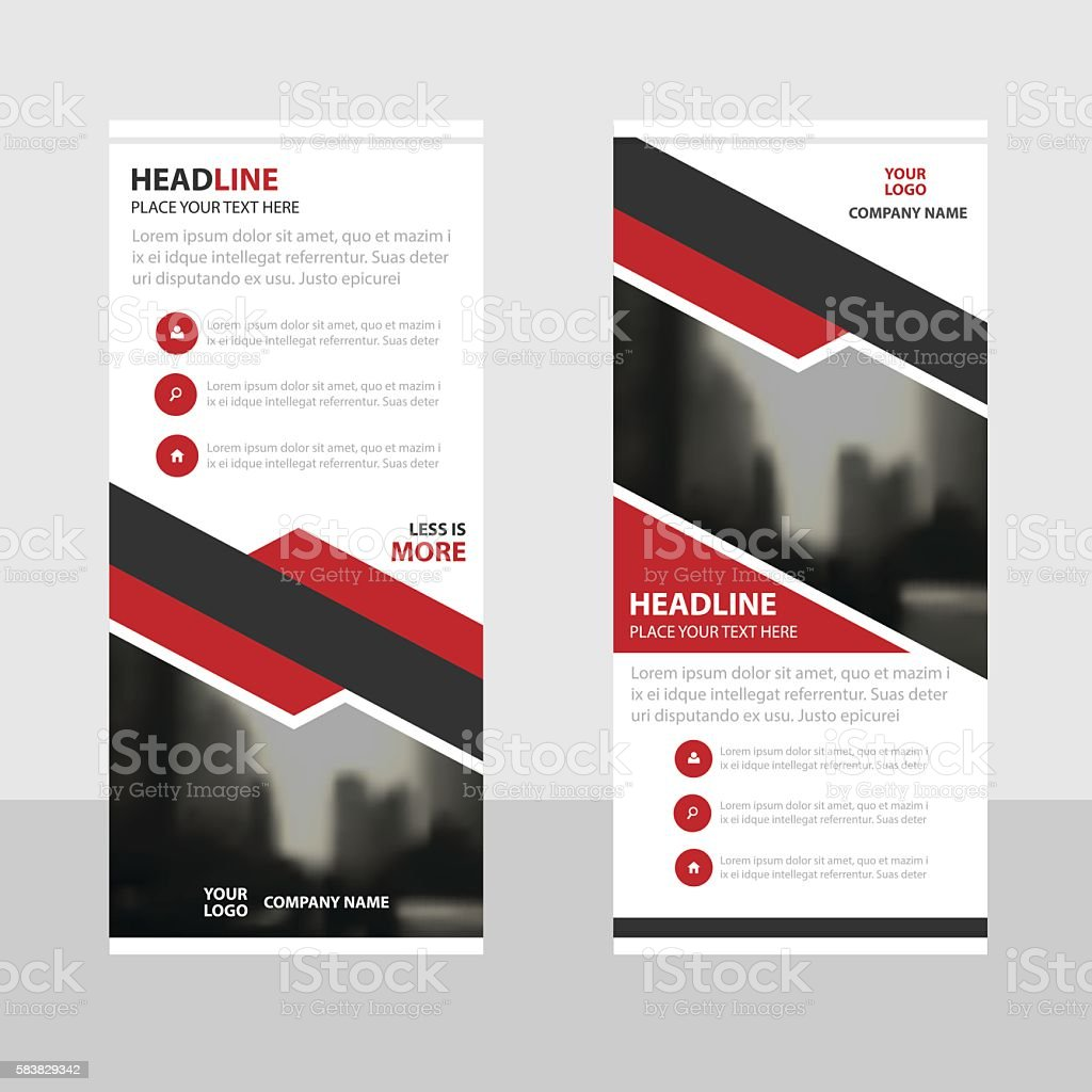 Red Abstract square Business Roll Up Banner flat design template vector art illustration