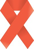 Red AIDS vector sign isolated on white