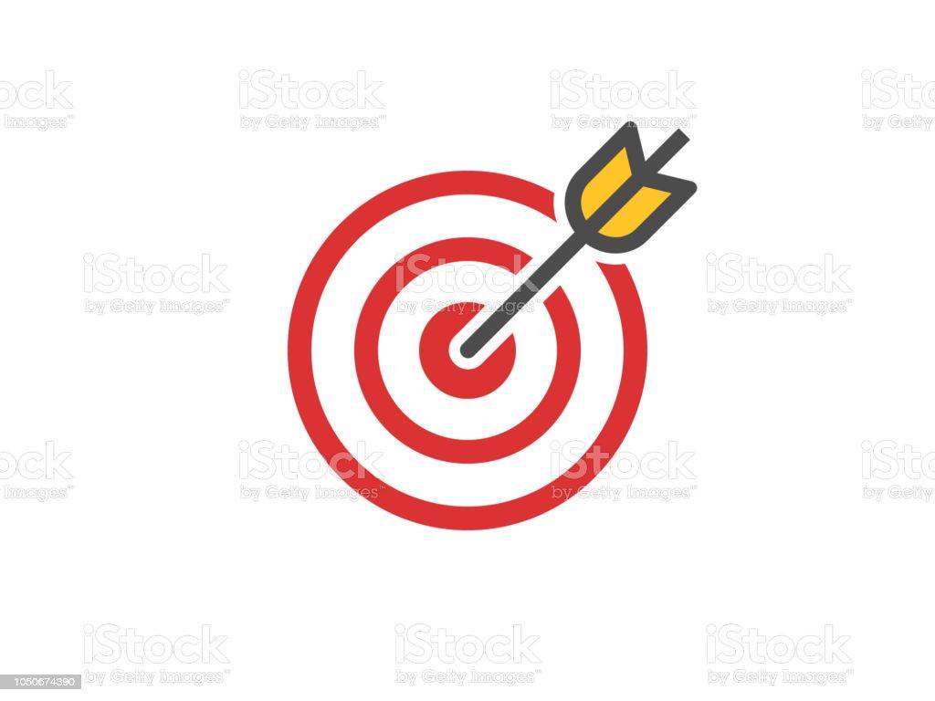 Icono de objetivo rojo. Concepto objetivo y flecha. Composición del golpe perfecto. Cruz apunte signo. Logotipo de éxito. Ganador absoluto. Ilustración de vector - ilustración de arte vectorial
