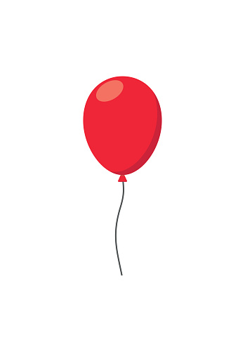 Red air Balloon flat style carnival happy surprise helium string