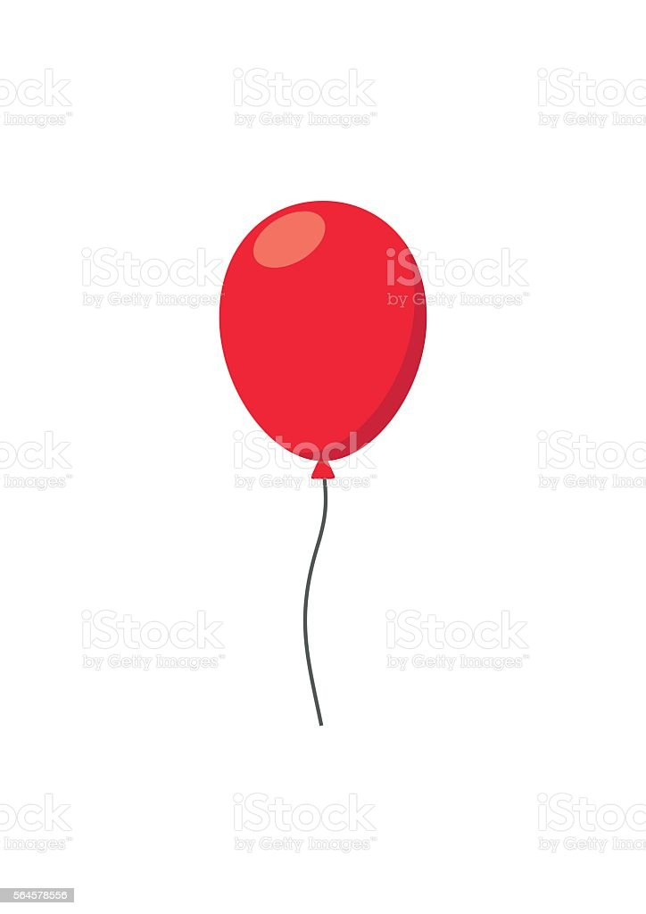 Red air Balloon flat style carnival happy surprise helium string vector art illustration