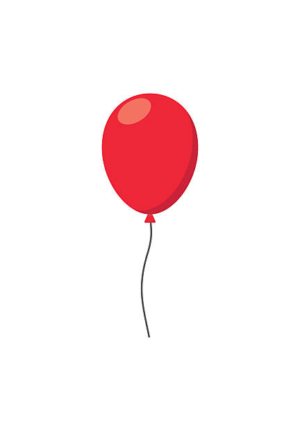 Red air Balloon flat style carnival happy surprise helium string - Illustration vectorielle