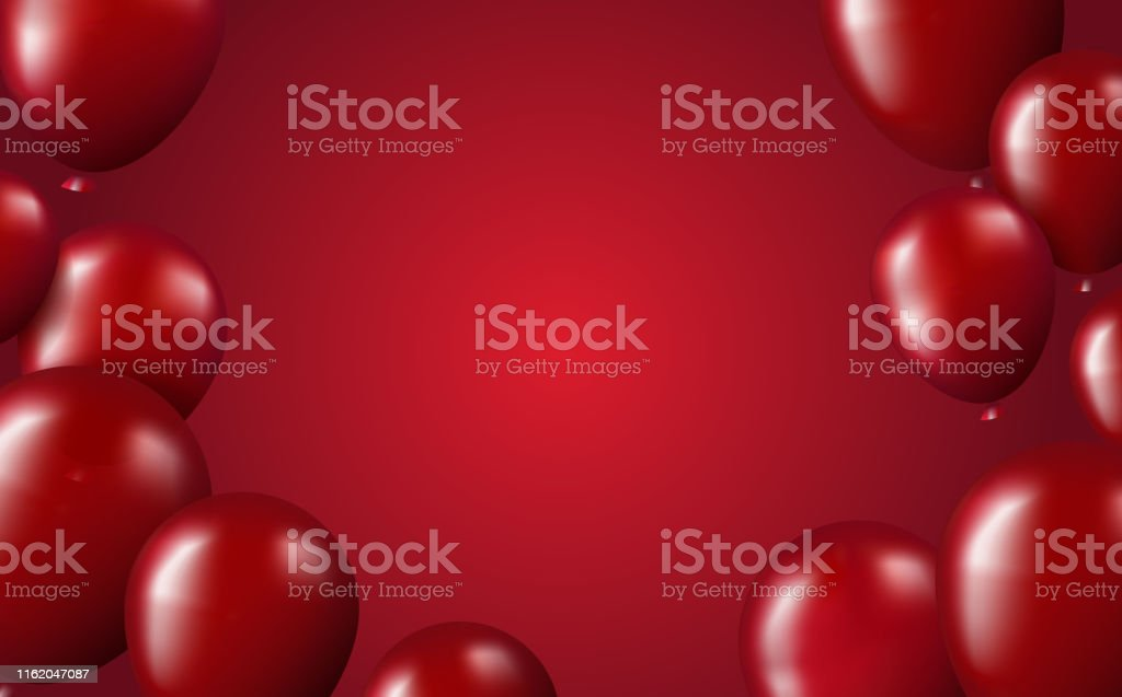 Red air balloons realistic on red gradient backdrop card layout