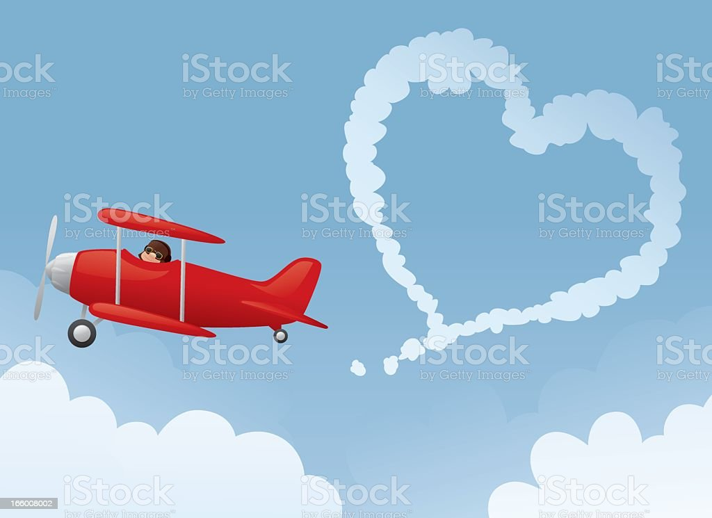 Red airplane make a heart with its contrail royalty-free stock vector art