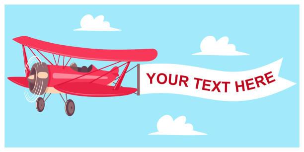 Top 60 Cartoon Airplane Pulling Banner Clip Art, Vector ...