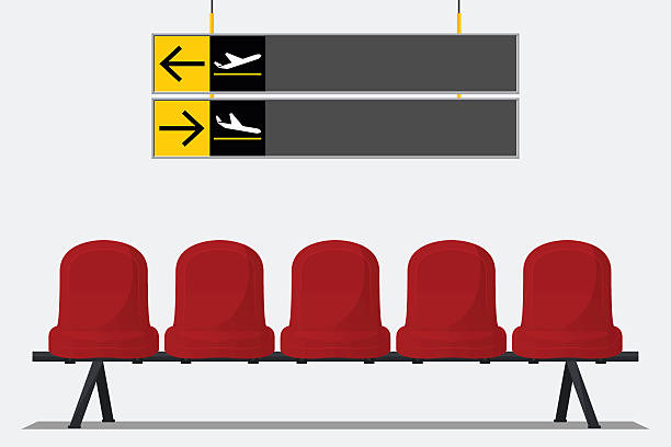 red airport seat in waiting room. chair icon vector. - wayfinding icons stock illustrations, clip art, cartoons, & icons