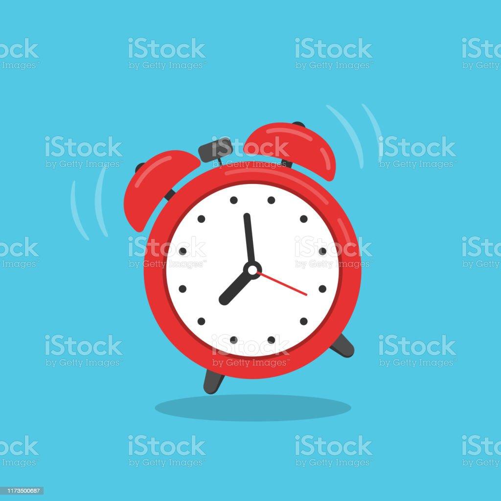 Reloj despertador rojo aislado en fondo azul. - arte vectorial de Abstracto libre de derechos