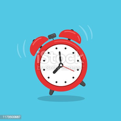Concept for wake up times or reminder. Vector illustration in flat style.