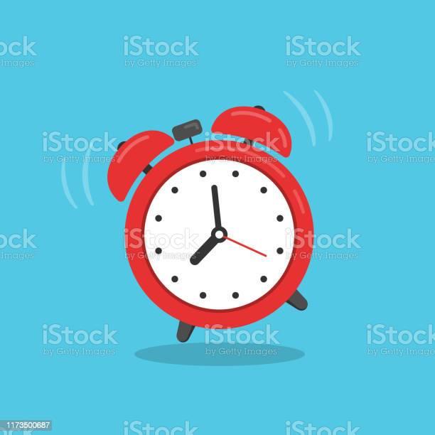 Ilustración de Reloj Despertador Rojo Aislado En Fondo Azul y más Vectores Libres de Derechos de Abstracto