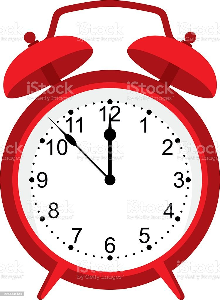 red alarm clock isolated on white background. Red clock. vector art illustration