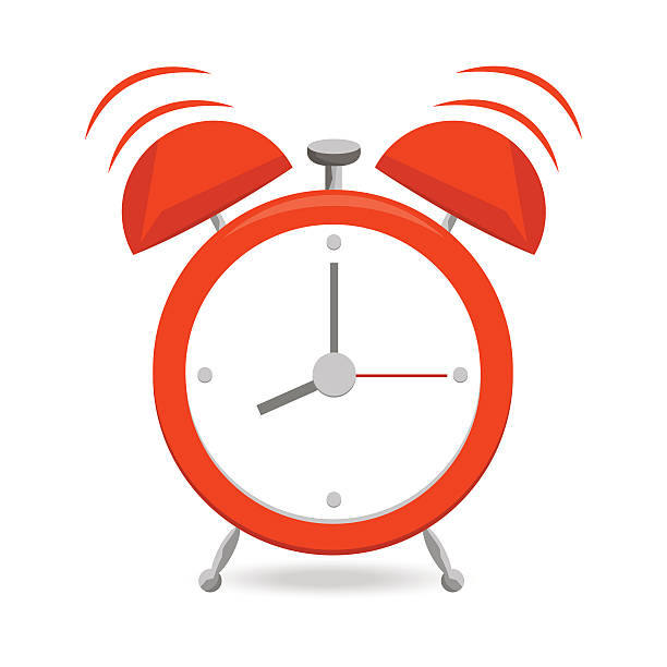 Red alarm clock with bells isolated on white background. vector art illustration
