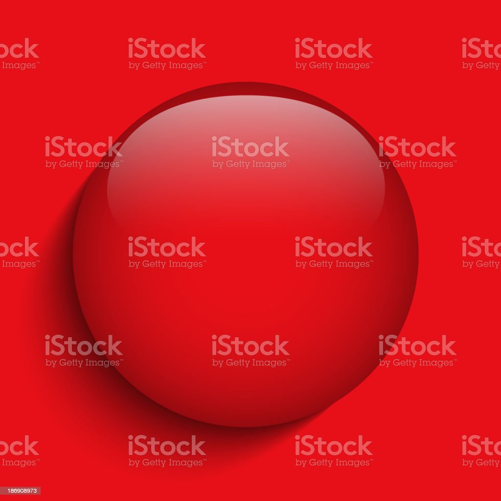 Red Alert Glass Circle Button on Background royalty-free stock vector art
