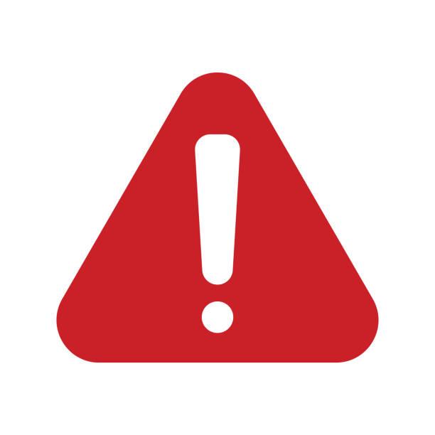 빨간색 경고 아이콘 - 상징 stock illustrations