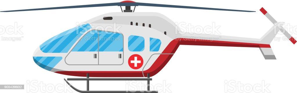 red Ambulance helicopter . vector art illustration
