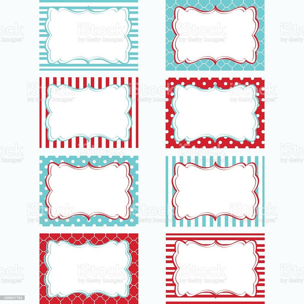 Red and Aqua Printable Labels Set. vector art illustration