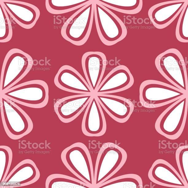 Röd Och Beige Sömlös Blommönster Blek Röd Färgad Bakgrund-vektorgrafik och fler bilder på Abstrakt