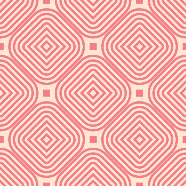 Bекторная иллюстрация Red and beige geometric ornament. Seamless pattern