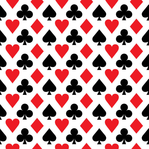 Red And Black Aces Seamless Pattern Vector illustration of red and black aces on a black background. poker stock illustrations