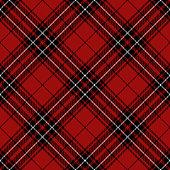Red, black and white argyle Scottish tartan plaid, seamless diagonal textile pattern background.