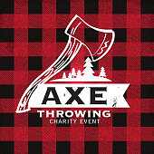 Vector illustration of a set of Axe Throwing label or badge design templates. Design includes red and black flannel material color palette with worn textures. Includes rustic axes, sample text, mountainscape, and natural elements. Perfect for Axe throwing celebration, lumberjack, hipster or male party themes. Layers for easy editing.