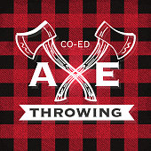 Vector illustration of a set of Axe Throwing label or badge design templates. Design includes red and black color palette with worn textures. Includes rustic axes, design, sample text, ribbon, and natural elements. Perfect for Axe throwing celebration, lumberjack, hipster or male party themes. Layers for easy editing.