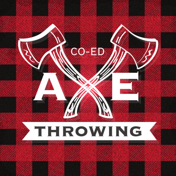 red and black axe throwing label - flannel backgrounds stock illustrations, clip art, cartoons, & icons