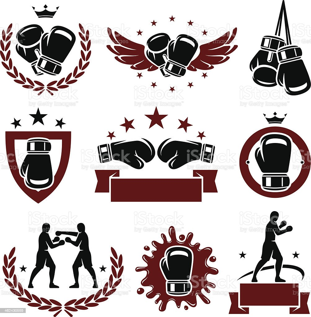 Red and black boxing glove icons and labels vector art illustration